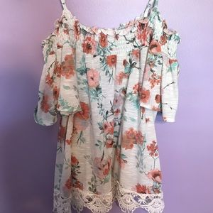 Flower off the shoulder with straps